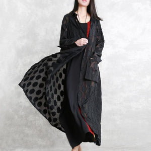 2019 black dotted Jacquard coats plus size Turn-down Collar outwear top quality long sleeve pockets long coat