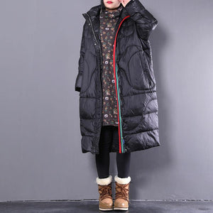 2019 black down coat casual stand collar down coat Elegant pockets zippered overcoat