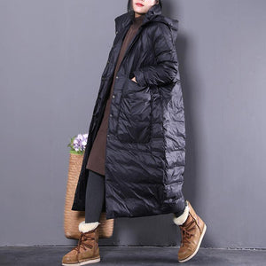 2019 black down coat plus size clothing hooded down coat Casual Large pockets down coat
