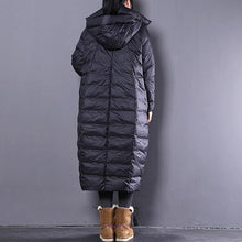 Load image into Gallery viewer, 2019 black down coat plus size clothing hooded down coat Casual Large pockets down coat