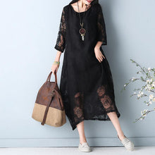 Load image into Gallery viewer, 2019 black hollow out maxi dress o neck Half sleeve bridesmaid dress asymmetric summer dress