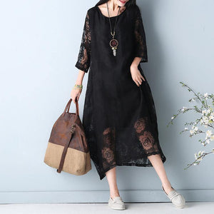 2019 black hollow out maxi dress o neck Half sleeve bridesmaid dress asymmetric summer dress
