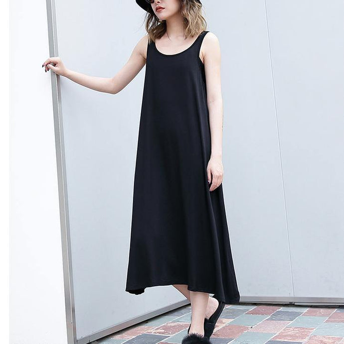 2018 black long cotton dress trendy plus size sleeveless caftans Elegant wild dress