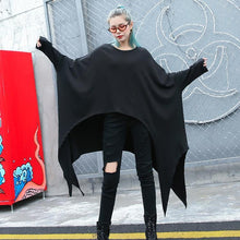 Load image into Gallery viewer, 2019 black natural cotton blended t shirt oversize O neck clothing tops vintage asymmetric large hem t shirt