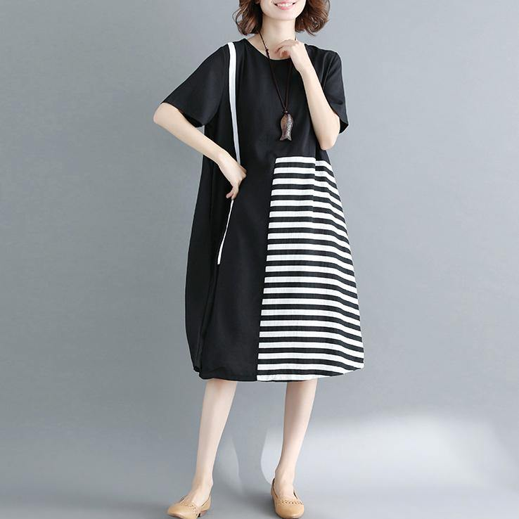 2018 black natural cotton dress casual casual dress top quality short sleeve o neck cotton dress
