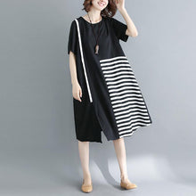 Load image into Gallery viewer, 2019 black natural cotton dress casual casual dress top quality short sleeve o neck cotton dress