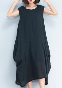 2018 black natural cotton polyester dress oversize sleeveless traveling dress Elegant kaftans
