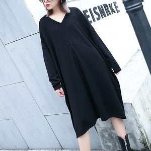 2018 black natural plus size baggy dresses vintage V neck drawstring natural cotton blended dress