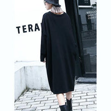 Load image into Gallery viewer, 2018 black natural plus size baggy dresses vintage V neck drawstring natural cotton blended dress