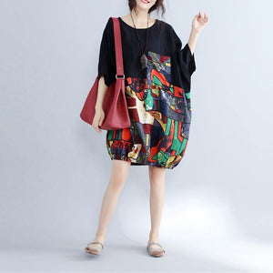 2019 black patchwork cotton shift dress casual cotton clothing dresses Fine batwing sleeve prints cotton dress