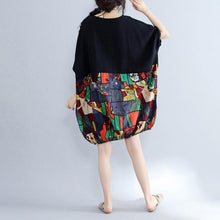 Load image into Gallery viewer, 2019 black patchwork cotton shift dress casual cotton clothing dresses Fine batwing sleeve prints cotton dress