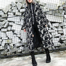 Load image into Gallery viewer, 2019 black print Coat plus size lapel patchwork Coat Fine asymmetrical design coat