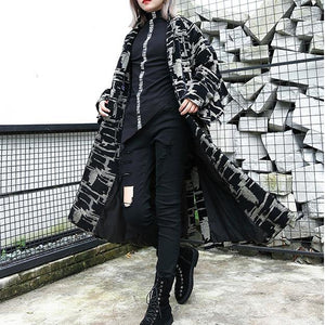 2019 black print Coat plus size lapel patchwork Coat Fine asymmetrical design coat