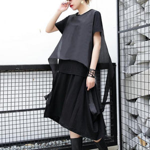 2018 black pure linen tops plus size traveling clothing casual patchwork faux two pieces tops