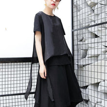 Afbeelding in Gallery-weergave laden, 2019 black pure linen tops plus size traveling clothing casual patchwork faux two pieces tops