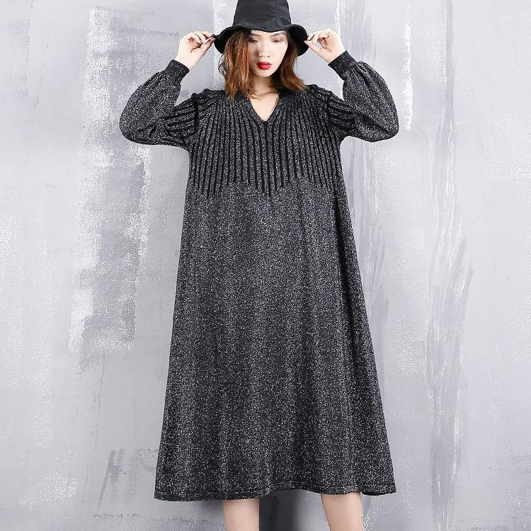 2018 black sweater dress plus size v neck sweater vintage baggy wrinkled winter dress