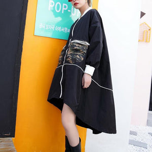 2019 black thin coat casual low high cardigans boutique big pockets jackets