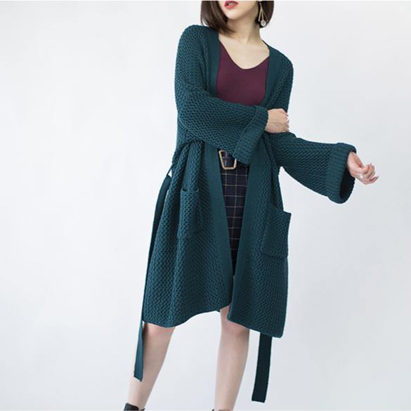 2019 blackish green Wool Coat plus size flare sleeve tie waist maxi coat Elegant pockets coat