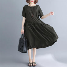 Load image into Gallery viewer, 2019 blackish green pure cotton blended dresses oversize maxi dress Elegant short sleeve baggy dresses o neck patchwork cotton dress