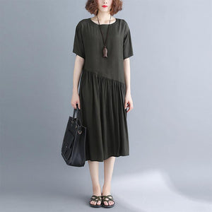 2019 blackish green pure cotton blended dresses oversize maxi dress Elegant short sleeve baggy dresses o neck patchwork cotton dress