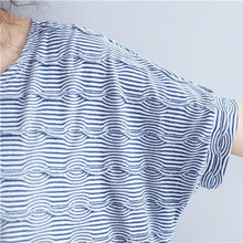 2018 blue cotton topscasual traveling blouseNew o neck striped brief t shirt