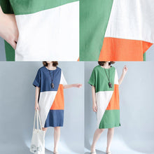 Load image into Gallery viewer, 2019 blue linen shift dresses casual shirt dress Fine short sleeve patchwork knee dresses
