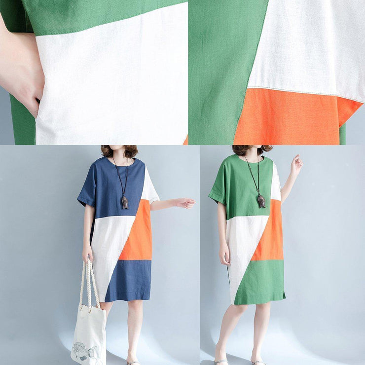 2019 blue linen shift dresses casual shirt dress Fine short sleeve patchwork knee dresses