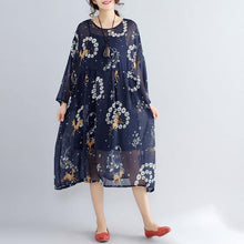 Load image into Gallery viewer, 2019 blue prints pure chiffon dresses plus size vintage two pieces wild dress