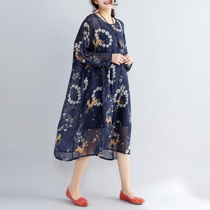 2019 blue prints pure chiffon dresses plus size vintage two pieces wild dress