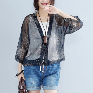 2019 casual gray prints silk cardigans oversize long sleeve tie bust tops