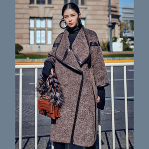 2018 chocolate Wool Coat plus size long coat Fashion Batwing Sleeve maxi coat