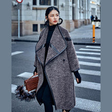 Load image into Gallery viewer, 2019 chocolate Wool Coat plus size long coat Fashion Batwing Sleeve maxi coat
