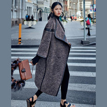 Load image into Gallery viewer, 2018 chocolate Wool Coat plus size long coat Fashion Batwing Sleeve maxi coat