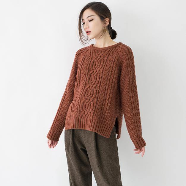 2019 chocolate chunky cozy sweater Loose fitting O neck side open knit sweat tops boutique cable knit blouse