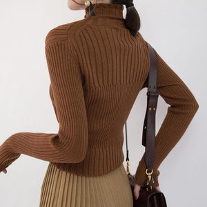 2018 chocolate cozy sweater plus size high neck sweaters New slim sweater