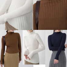 Load image into Gallery viewer, 2018 chocolate cozy sweater plus size high neck sweaters New slim sweater