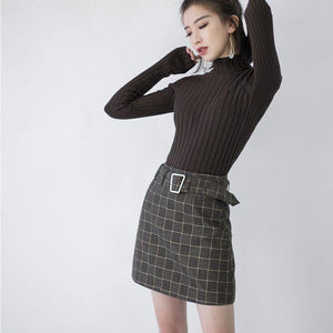 2018 chocolate knit sweaters trendy plus size high neck knitted blouses women side open winter sweaters