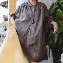 Load image into Gallery viewer, 2019 chocolate linen shift dress plus size clothing linen clothing dresses 2018 Three Quarter sleeve baggy dresses Peter pan Collar dresses