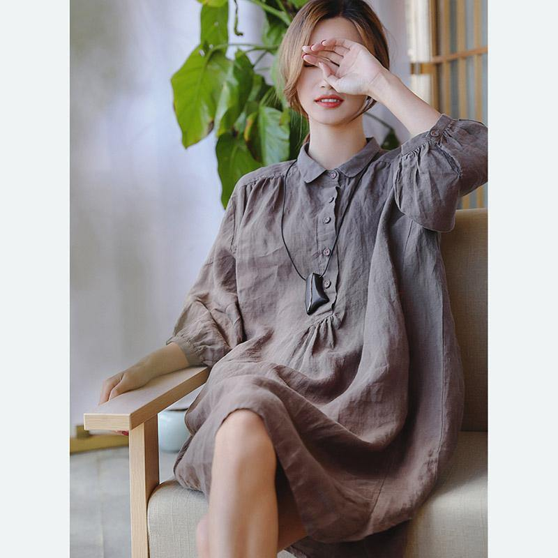 2019 chocolate linen shift dress plus size clothing linen clothing dresses  2018 Three Quarter sleeve baggy dresses Peter pan Collar dresses