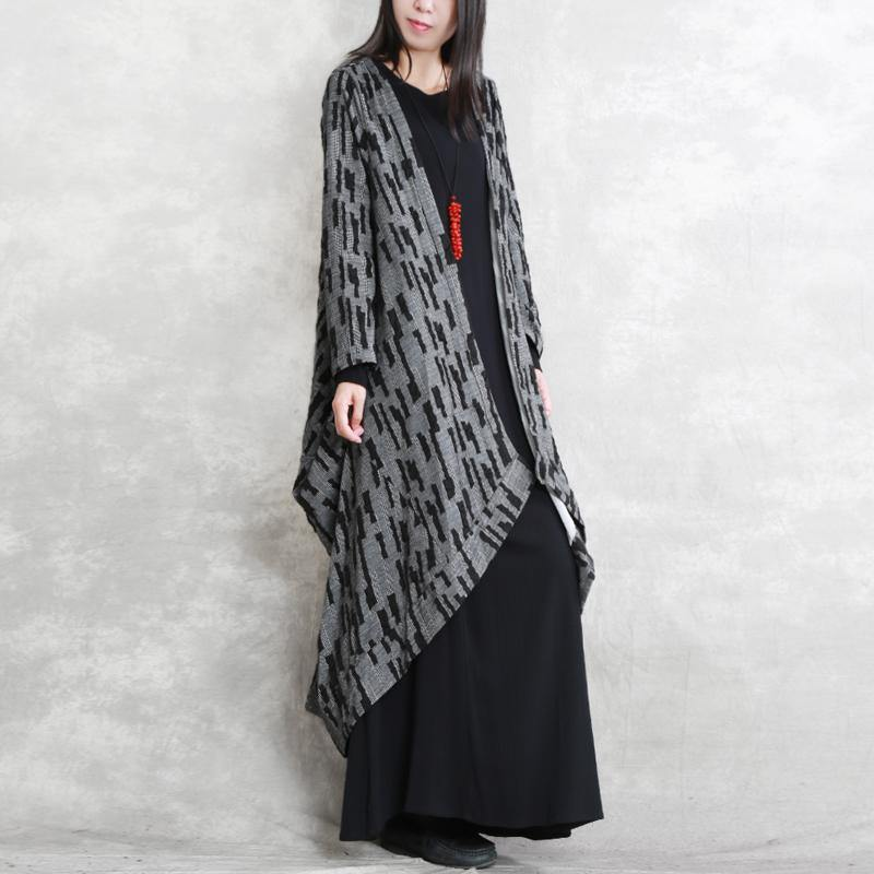 2018 dark gray Coats oversized asymmetric Winter coat Fashion long sleeve patchwork long coats