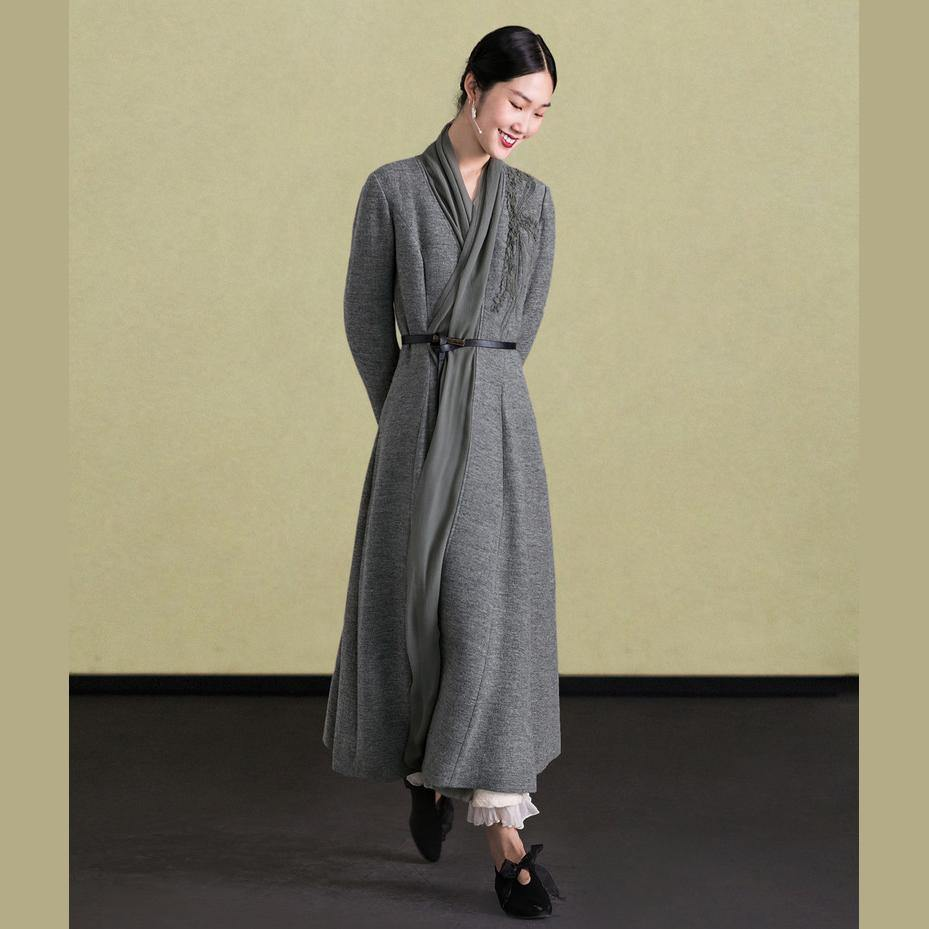 2018 embroidery wool coat for woman plus size maxi coat slim women coats