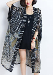 2018 fashion women black chiffon coats plus size tassel summer casual cardigans