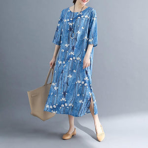 2018 floral long cotton dresses plus size Batwing Sleeve long cotton dresses Elegant o neck cotton dress