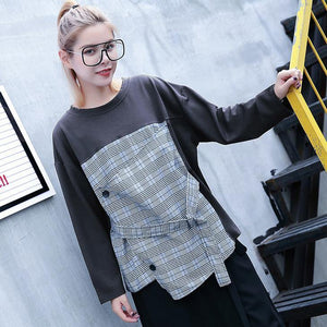 2018 gray Plaid tops trendy plus size O neck casual New patchwork asymmetric cotton tops