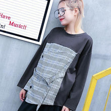 Load image into Gallery viewer, 2018 gray Plaid tops trendy plus size O neck casual New patchwork asymmetric cotton tops