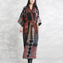 Load image into Gallery viewer, 2019 gray autumn linen dress oversize patchwork traveling clothing women long sleeve tie waist autumn dress
