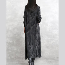 Load image into Gallery viewer, 2019 gray dotted cotton blended caftans trendy plus size o neck pockets linen maxi dress casual long sleeve asymmetrical design caftans
