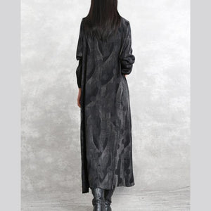 2019 gray dotted cotton blended caftans trendy plus size o neck pockets linen maxi dress casual long sleeve asymmetrical design caftans