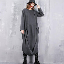 Load image into Gallery viewer, 2019 gray dresses plus size o neck gown top quality wrinkled side open kaftans