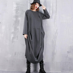 2018 gray dresses plus size o neck gown top quality wrinkled side open kaftans